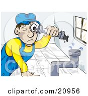 Clipart Picture Of A Pipe Fitter Canalizador Plumber Man Fitting Pipes Together In A Bathroom