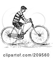 Royalty Free RF Clipart Illustration Of A Retro Black And White Man Riding A Bike by BestVector