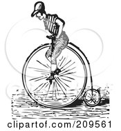 Royalty Free RF Clipart Illustration Of A Retro Black And White Man Riding A Penny Farthing Bicycle by BestVector