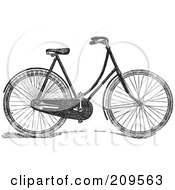 Royalty Free RF Clipart Illustration Of A Retro Black And White Bicycle by BestVector