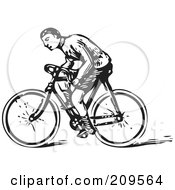 Royalty Free RF Clipart Illustration Of A Retro Black And White Man Riding A Bicycle by BestVector