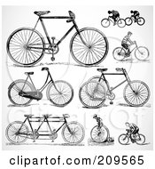 Royalty Free RF Clipart Illustration Of A Digital Collage Of Retro Black And White Bicycles And People Riding Bikes