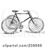 Royalty Free RF Clipart Illustration Of A Retro Black And White Tricycle by BestVector