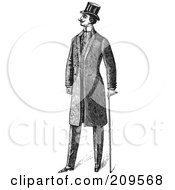 Royalty Free RF Clipart Illustration Of A Retro Black And White Groom With A Cane by BestVector