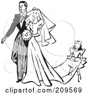 Royalty Free RF Clipart Illustration Of A Retro Black And White Girl Carrying The Train Of A Brides Dress by BestVector