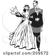 Royalty Free RF Clipart Illustration Of A Retro Black And White Bride And Groom Walking Arm In Arm by BestVector