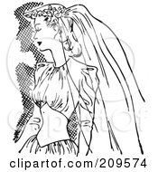 Royalty Free RF Clipart Illustration Of A Retro Black And White Bride In A Veil And Dress