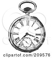 Royalty Free RF Clipart Illustration Of A Retro Black And White Retro Pocket Watch 2