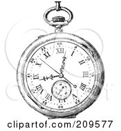 Royalty Free RF Clipart Illustration Of A Retro Black And White Retro Pocket Watch 1