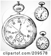 Royalty Free RF Clipart Illustration Of A Digital Collage Of Three Retro Black And White Retro Pocket Watches