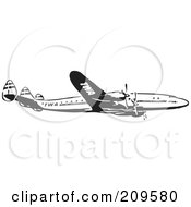 Royalty Free RF Clipart Illustration Of A Retro Black And White Plane 2 by BestVector