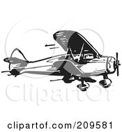 Royalty Free RF Clipart Illustration Of A Retro Black And White Plane 4 by BestVector