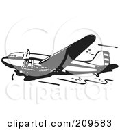 Royalty Free RF Clipart Illustration Of A Retro Black And White Plane 7 by BestVector
