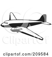 Royalty Free RF Clipart Illustration Of A Retro Black And White Plane 5 by BestVector