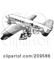 Royalty Free RF Clipart Illustration Of A Retro Black And White Plane 6 by BestVector