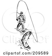 Royalty Free RF Clipart Illustration Of A Retro Black And White Wading Fisherman Reeling In A Fish by BestVector