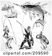 Royalty Free RF Clipart Illustration Of A Digital Collage Of Retro Black And White Fishermen And Fish by BestVector