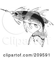Royalty Free RF Clipart Illustration Of A Retro Black And White Fish Swimming Towards A Lure by BestVector