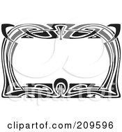 Royalty Free RF Clipart Illustration Of A Retro Black And White Art Deco Styled Border 3