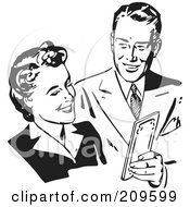 Royalty Free RF Clipart Illustration Of A Retro Black And White Couple Sharing Money by BestVector