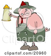 Clipart Illustration Of A Drunk Pink Pig Drinking A Beer From A Setin At Oktoberfest by djart