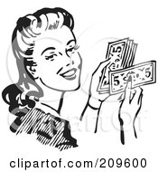 Royalty Free RF Clipart Illustration Of A Retro Black And White Woman Holding Cash by BestVector