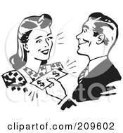 Royalty Free RF Clipart Illustration Of A Retro Black And White Man Handing Cash To A Woman by BestVector