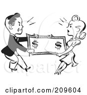 Royalty Free RF Clipart Illustration Of A Retro Black And White Man And Woman Fighting Over Money by BestVector