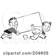 Royalty Free RF Clipart Illustration Of Two Retro Black And White Businessmen Carrying A Blank Sign by BestVector