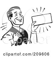 Royalty Free RF Clipart Illustration Of A Retro Black And White Businessman Presenting A Blank Sign