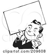 Royalty Free RF Clipart Illustration Of A Retro Black And White Businessman Winking And Holding A Blank Sign by BestVector