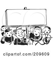 Royalty Free RF Clipart Illustration Of A Retro Black And White Crowd By A Blank Sign by BestVector #COLLC209609-0144