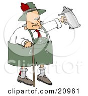 Clipart Illustration Of A Drunk Old Senior Man Walking With A Cane And Partying With A Beer Stein At Oktoberfest by djart