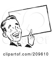 Royalty Free RF Clipart Illustration Of A Retro Black And White Businessman Pointing To A Blank Sign