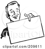Royalty Free RF Clipart Illustration Of A Retro Black And White Businessman Holding Out A Blank Sign by BestVector