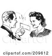 Royalty Free RF Clipart Illustration Of A Retro Black And White Man Presenting A Coupon To A Woman