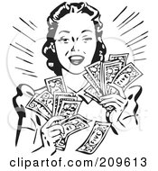 Royalty Free RF Clipart Illustration Of A Retro Black And White Woman Holding Handfulls Of Cash