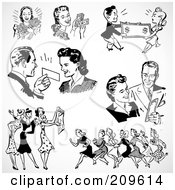 Royalty Free RF Clipart Illustration Of A Digital Collage Of Retro Black And White Men And Women Shopping