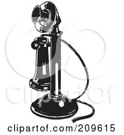 Royalty Free RF Clipart Illustration Of A Retro Black And White Candlestick Phone by BestVector
