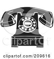 Royalty Free RF Clipart Illustration Of A Retro Black And White Desktop Telephone by BestVector