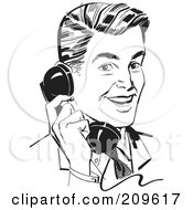Royalty Free RF Clipart Illustration Of A Retro Black And White Retro Businessman Chatting On A Phone by BestVector