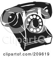 Royalty Free RF Clipart Illustration Of A Retro Black And White Desk Phone by BestVector