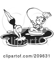 Royalty Free RF Clipart Illustration Of A Retro Black And White Man Fishing In A Boat While A Woman Swims