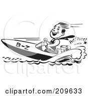 Royalty Free RF Clipart Illustration Of A Retro Black And White Man Driving A Speed Boat by BestVector