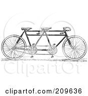 Royalty Free RF Clipart Illustration Of A Retro Black And White Tandem Bicycle