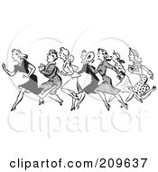 Royalty Free RF Clipart Illustration Of A Retro Black And White Line Of Running Shopping Women by BestVector
