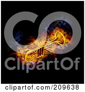 Royalty Free RF Clipart Illustration Of A Blazing Trumpet by Michael Schmeling