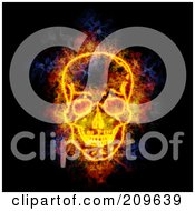 Royalty Free RF Clipart Illustration Of A Blazing Skull by Michael Schmeling