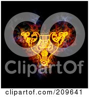 Royalty Free RF Clipart Illustration Of A Blazing Lyre And Garland by Michael Schmeling