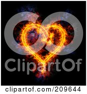 Royalty Free RF Clipart Illustration Of A Blazing Arrow Heart by Michael Schmeling
